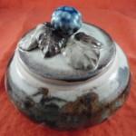 2a: Cranberry Pottery lidded bowl, Blackberry pattern